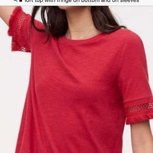 Loft red fringed t-shirt